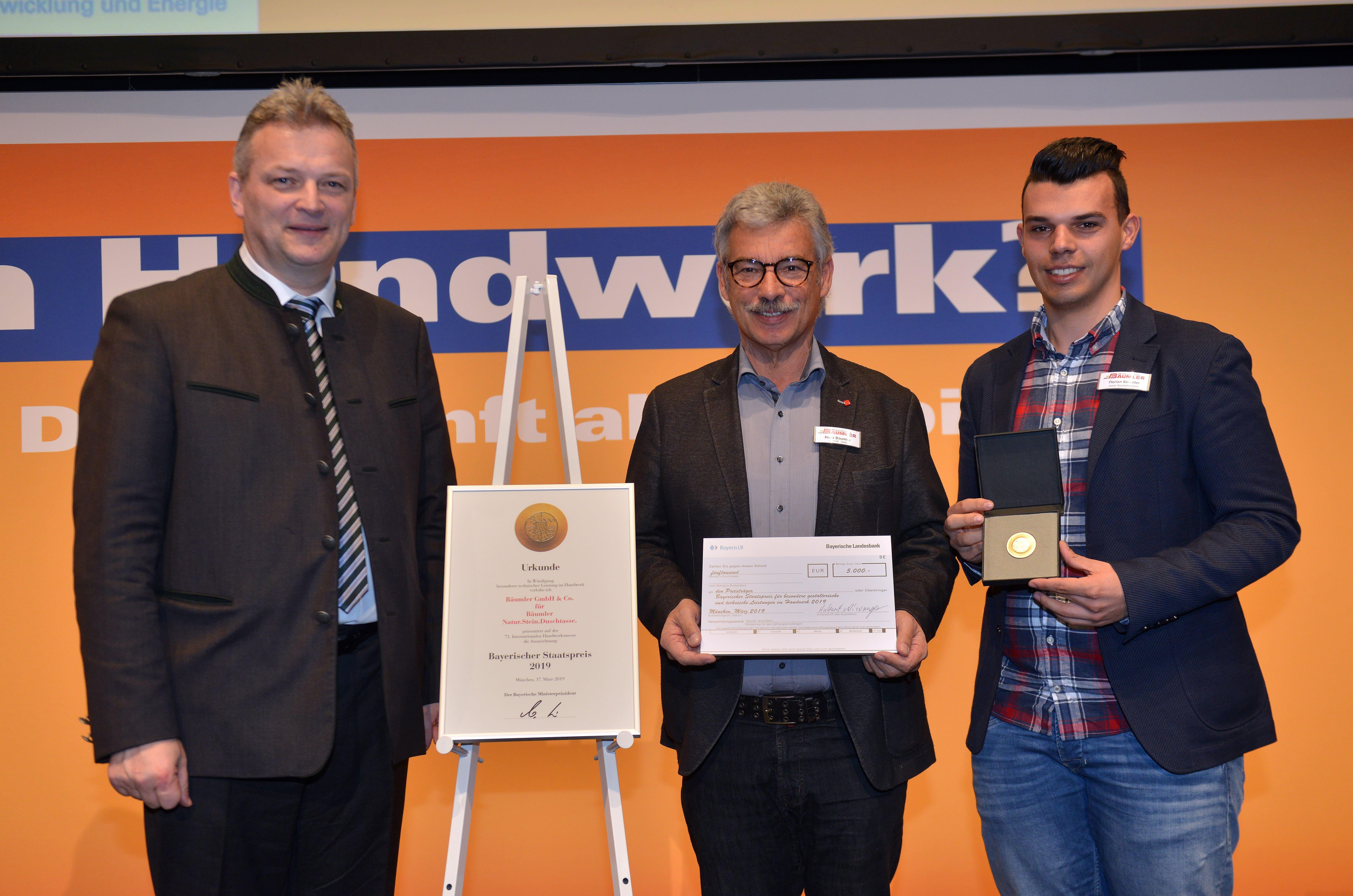 Bäumler Natursteine wird mit dem Bayerischen Staatspreis 2019 ausgezeichnet